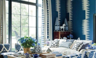 Mix of blue and white patterns and textures