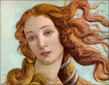 Long wavy hair in The Birth of Venus, Botticelli Sandro