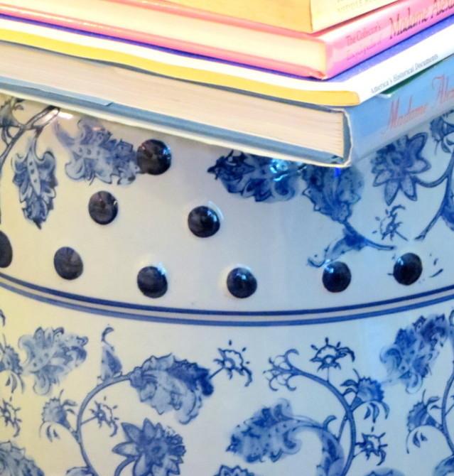 blue and white garden stool startwithfourwalls.com