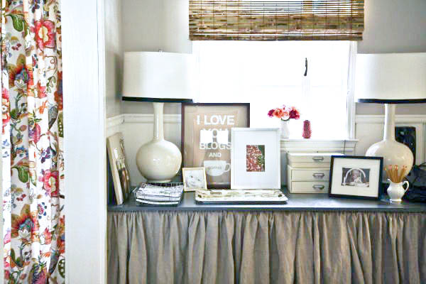 DIY Storage Solutions, console with a linen skirt