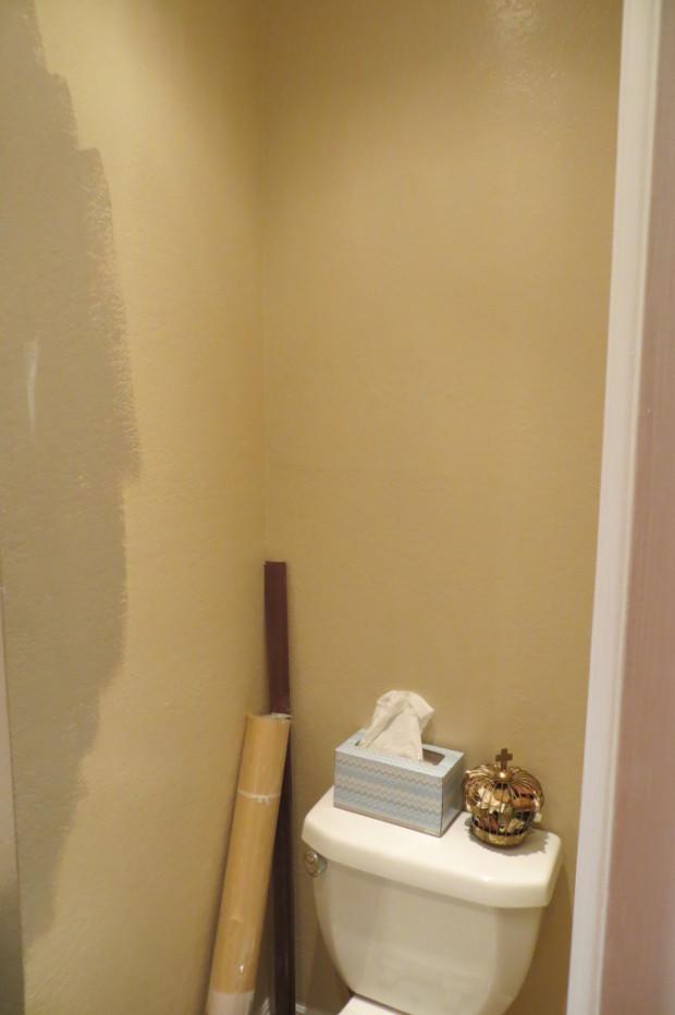 Navy Bathroom Progress startwithfourwalls.com