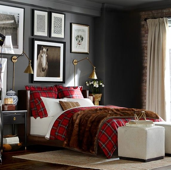 Tartan plain duvet cover and dark walls startwithfourwalls.com