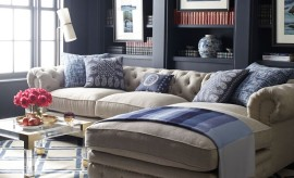 Tufted back sectional sofa