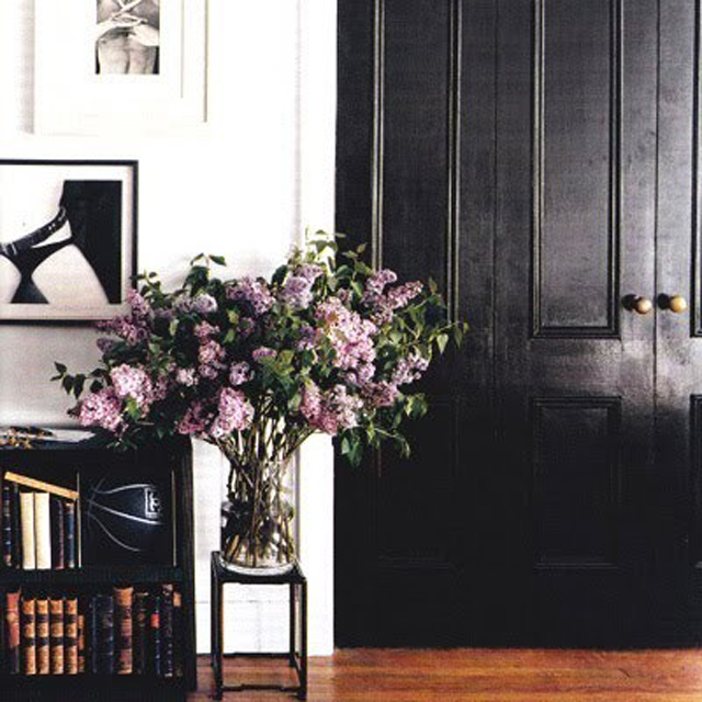 Black door with lilacs