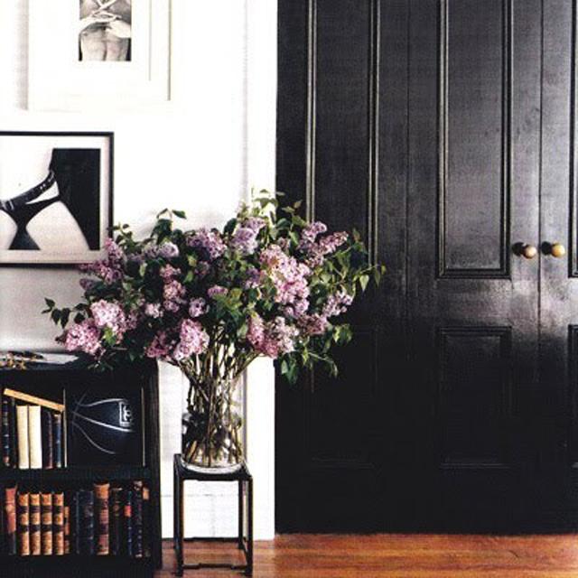 Black door with lilacs