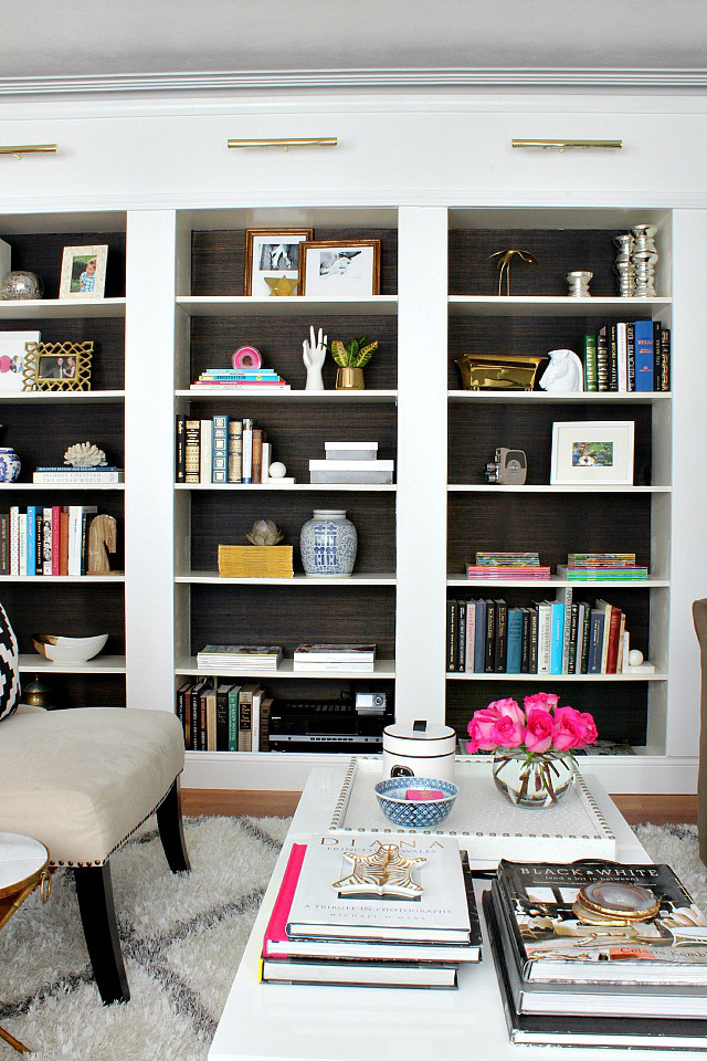 Ikea bookcases with grasscloth startwithfourwalls.com